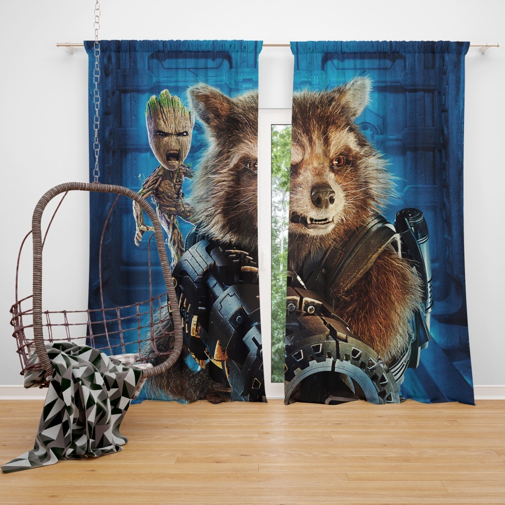Guardians of the Galaxy Vol 2 Movie Groot Marvel Comics Rocket Raccoon  Window Curtain