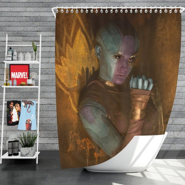 Guardians of the Galaxy Vol 2 Movie Karen Gillan Nebula Marvel Comics Shower Curtain