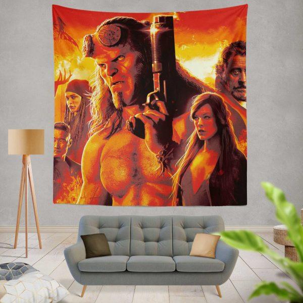 Hellboy 2019 Movie Milla Jovovich David Harbour Ian McShane Wall Hanging Tapestry