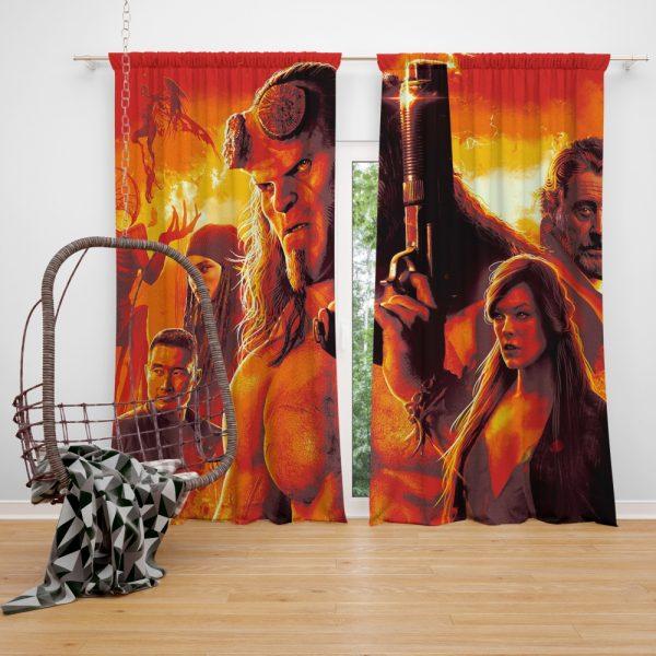 Hellboy 2019 Movie Milla Jovovich David Harbour Ian McShane Window Curtain