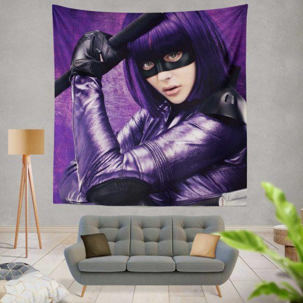 Hit-Girl in Kick-Ass Movie Chloe Grace Moretz Wall Hanging Tapestry