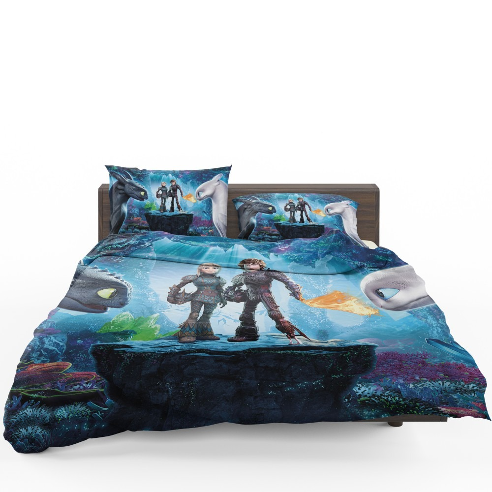 How To Train Your Dragon The Hidden World Movie Astrid Hiccup Toothless White Night Fury Bedding Set
