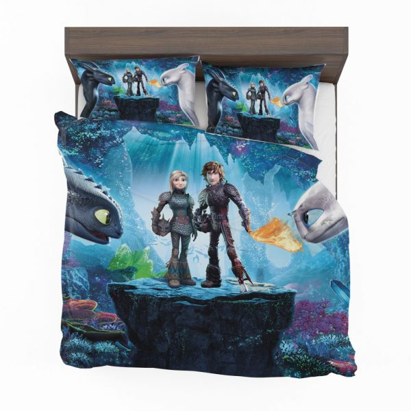 How to Train Your Dragon The Hidden World Movie Astrid Hiccup Toothless White Night Fury Bedding Set 2
