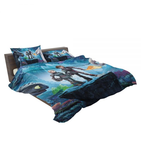 How to Train Your Dragon The Hidden World Movie Astrid Hiccup Toothless White Night Fury Bedding Set 3
