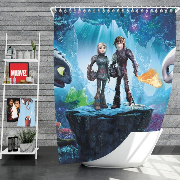 How to Train Your Dragon The Hidden World Movie Astrid Hiccup Toothless White Night Fury Shower Curtain