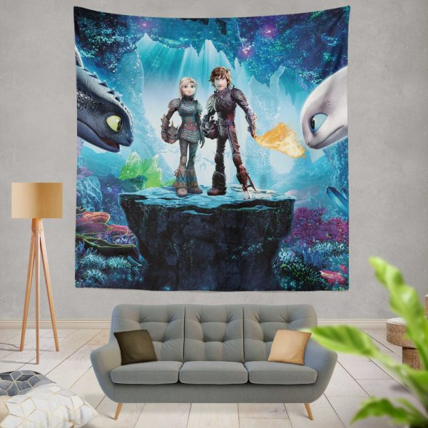 How to Train Your Dragon The Hidden World Movie Astrid Hiccup Toothless White Night Fury Wall Hanging Tapestry