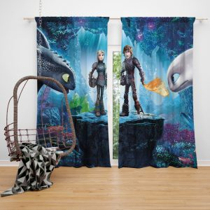 How to Train Your Dragon The Hidden World Movie Astrid Hiccup Toothless White Night Fury Window Curtain