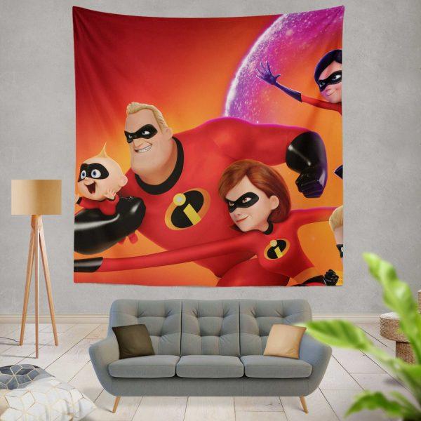 Incredibles 2 Movie Dash Parr Elastigirl Jack-Jack Parr Mr Incredible Wall Hanging Tapestry
