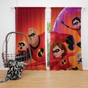 Incredibles 2 Movie Dash Parr Elastigirl Jack-Jack Parr Mr Incredible Window Curtain