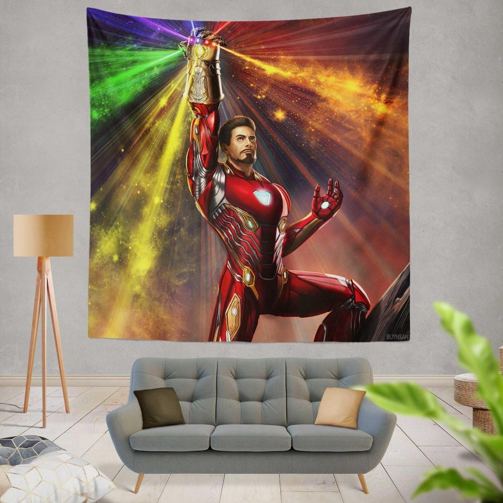 Iron Man Infinity Gauntlet Tony Stark Avengers Endgame Movie Wall Hanging  Tapestry