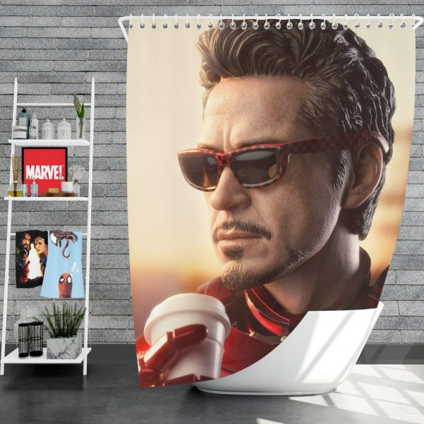 Iron Man Movie Figurine Robert Downey Jr Shower Curtain