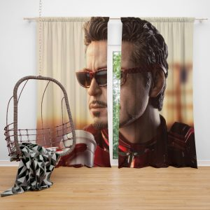 Iron Man Movie Figurine Robert Downey Jr Window Curtain