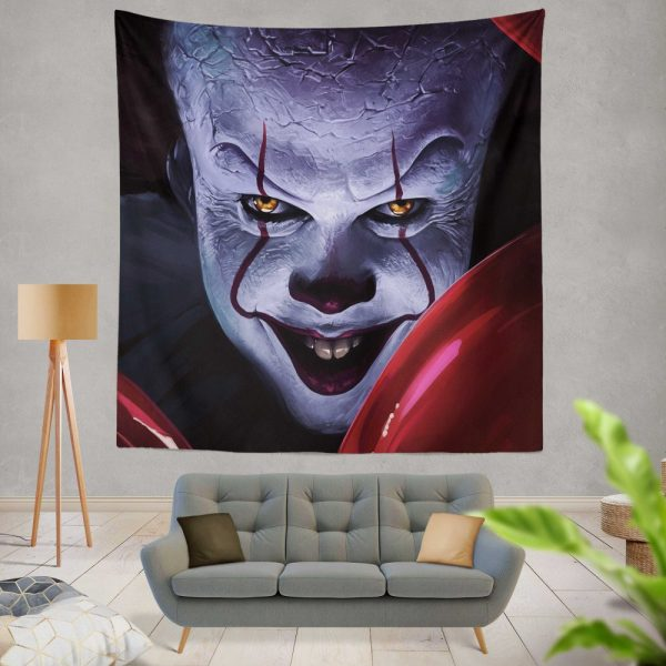It 2017 Movie Creepy Pennywise Wall Hanging Tapestry