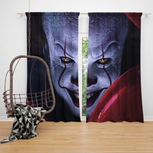 It 2017 Movie Creepy Pennywise Window Curtain