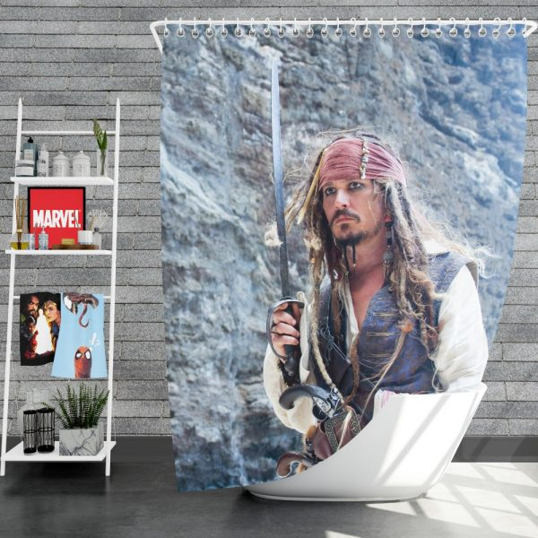 Jack Sparrow Johnny Depp in Pirates of the Caribbean On Stranger Tides Movie Shower Curtain