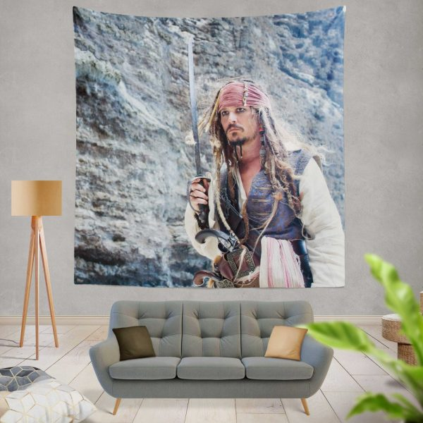 Jack Sparrow Johnny Depp in Pirates of the Caribbean On Stranger Tides Movie Wall Hanging Tapestry