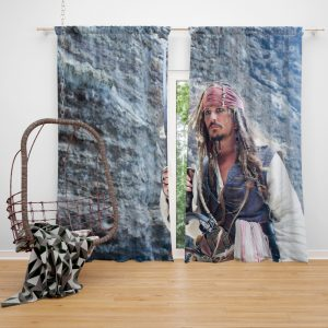 Jack Sparrow Johnny Depp in Pirates of the Caribbean On Stranger Tides Movie Window Curtain