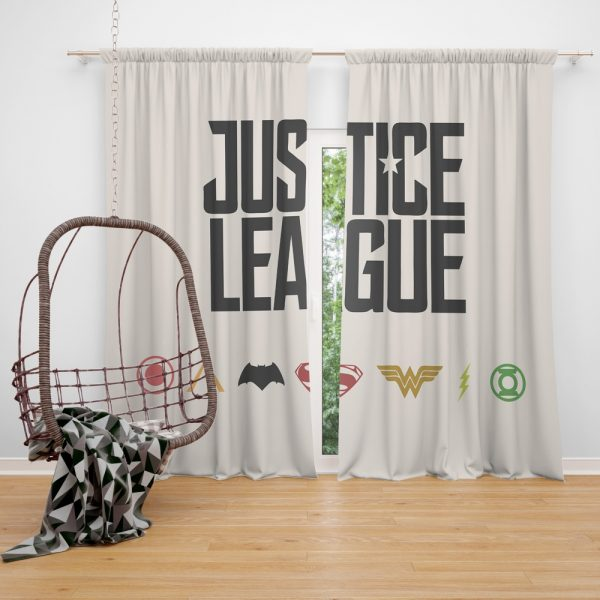 Justice League 2017 Movie DC Comics Logo Window Curtain