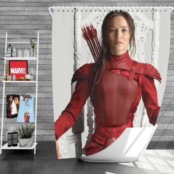 Katniss Everdeen Jennifer Lawrence in The Hunger Games Mockingjay Part 2 Movie Shower Curtain