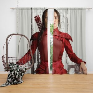 Katniss Everdeen Jennifer Lawrence in The Hunger Games Mockingjay Part 2 Movie Window Curtain
