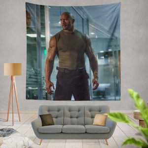 Luke Hobbs Dwayne Johnson in Furious 7 Fast & Furious Movie Wall Hanging Tapestry