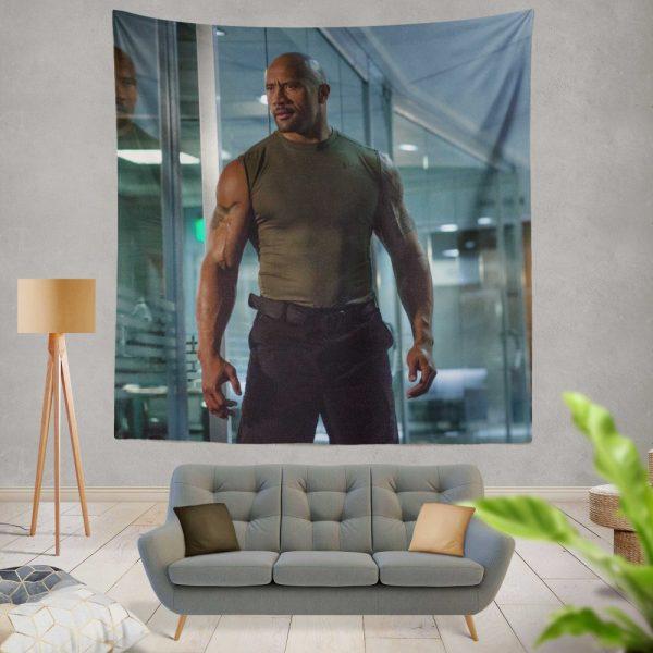Luke Hobbs Dwayne Johnson in Furious 7 Fast & Furious Movie Wall Hanging Tapestry