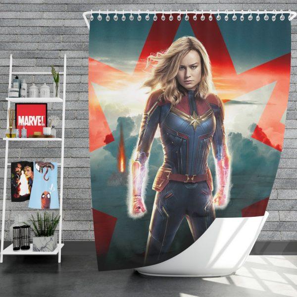 Marvel MCU Captain Marvel Movie Brie Larson Shower Curtain
