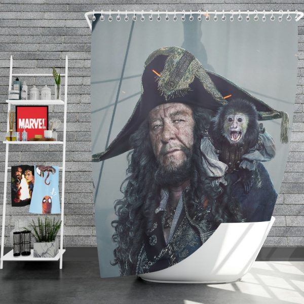 Pirates Of The Caribbean Dead Men Tell No Tales Movie Geoffrey Rush Hector Barbossa Shower Curtain