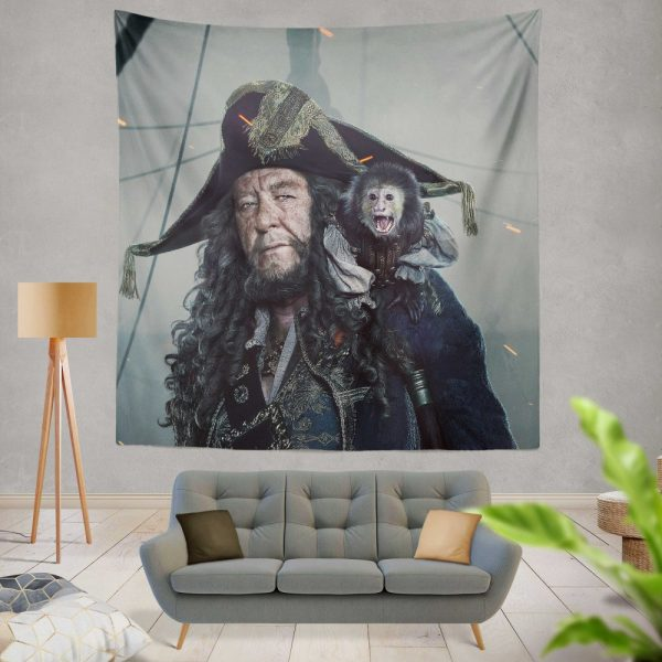 Pirates Of The Caribbean Dead Men Tell No Tales Movie Geoffrey Rush Hector Barbossa Wall Hanging Tapestry