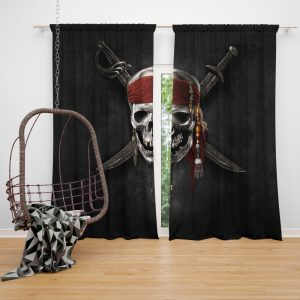 Pirates Of The Caribbean Movie Dead Skull Window Curtain