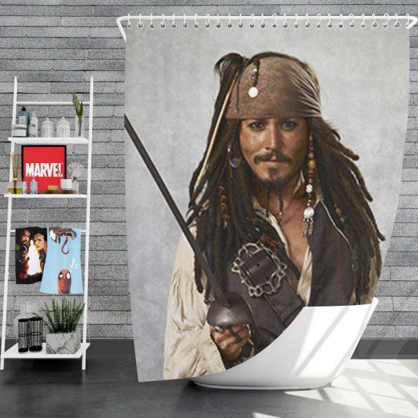 Pirates Of The Caribbean Movie Jack Sparrow Johnny Depp Shower Curtain