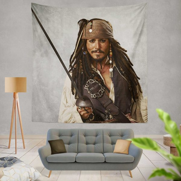 Pirates Of The Caribbean Movie Jack Sparrow Johnny Depp Wall Hanging Tapestry