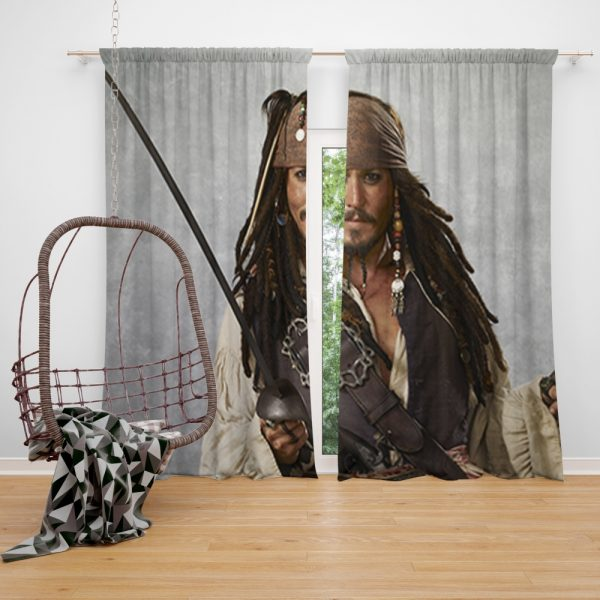Pirates Of The Caribbean Movie Jack Sparrow Johnny Depp Window Curtain
