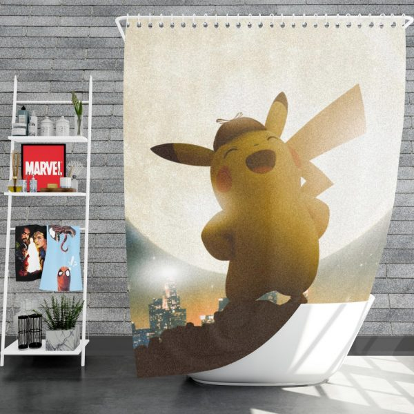 Pokémon Detective Pikachu Movie Pikachu Shower Curtain