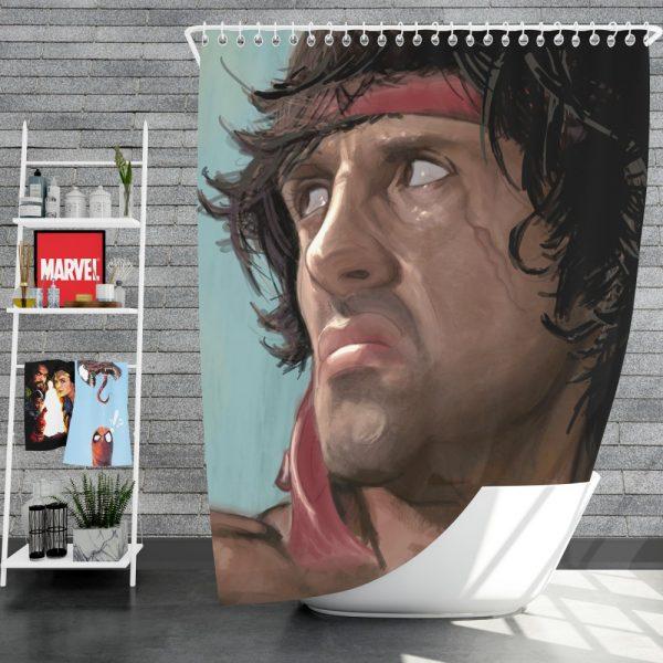 Rambo Movie Sylvester Stallone Shower Curtain