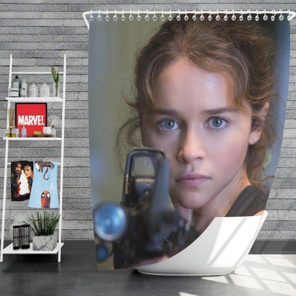 Sarah Connor Emilia Clarke in Terminator Genisys Movie Shower Curtain