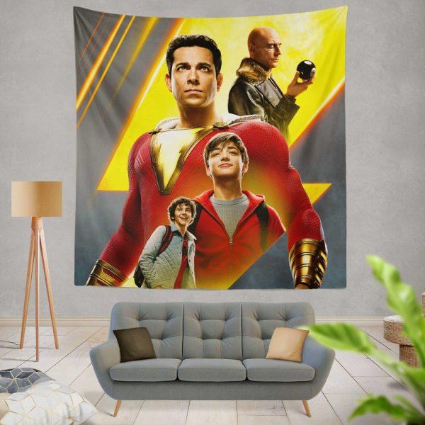 Shazam Movie DC Comics Zachary Levi Mark Strong Wall Hanging Tapestry