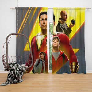 Shazam Movie DC Comics Zachary Levi Mark Strong Window Curtain