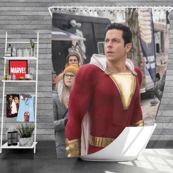 Shazam Movie Zachary Levi Jack Dylan Grazer Shower Curtain