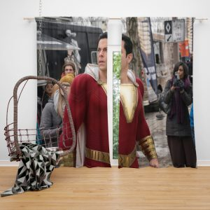 Shazam Movie Zachary Levi Jack Dylan Grazer Window Curtain