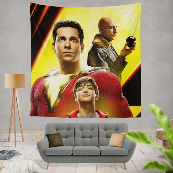Shazam Movie Zachary Levi Mark Strong Asher Angel Wall Hanging Tapestry