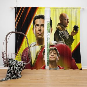 Shazam Movie Zachary Levi Mark Strong Asher Angel Window Curtain