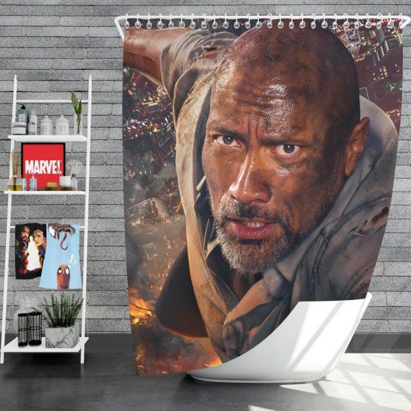 Skyscraper Movie Dwayne Johnson Shower Curtain