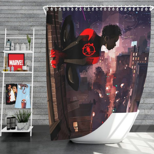 Spider-Man Into The Spider-Verse Movie Marvel Comics Miles Morales Shower Curtain