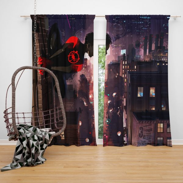 Spider-Man Into The Spider-Verse Movie Marvel Comics Miles Morales Window Curtain