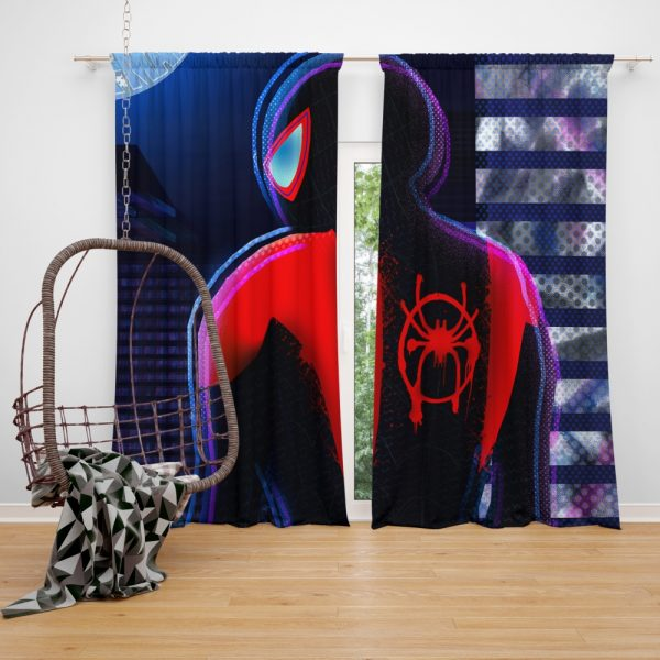 Spider-Man Into The Spider-Verse Movie Miles Morales Marvel Comics Window Curtain