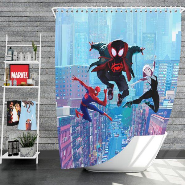 Spider-Man Into The Spider-Verse Movie Miles Morales Spider-Gwen Shower Curtain