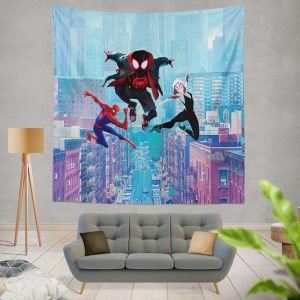 Spider-Man Into The Spider-Verse Movie Miles Morales Spider-Gwen Wall Hanging Tapestry