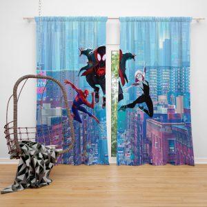 Spider-Man Into The Spider-Verse Movie Miles Morales Spider-Gwen Window Curtain