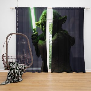 Star Wars Battlefront II 2017 Movie Yoda Window Curtain